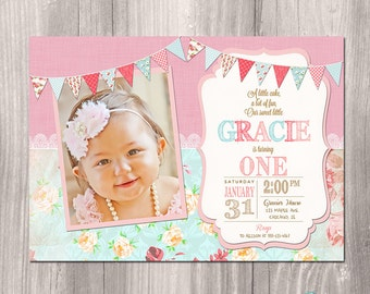 Shabby chic birthday invitation girl first birthday girl first birthday invitation shabby chic invitation pink floral tea party invitation stopboris Image collections