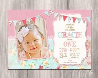 girl first birthday invitations