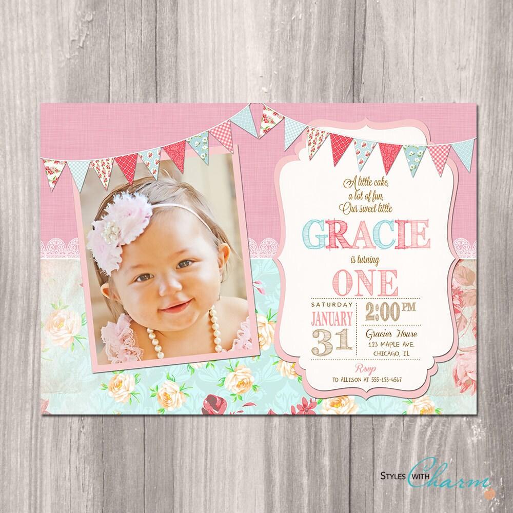 Girl First Birthday Invitation Shabby Chic Invitation Pink