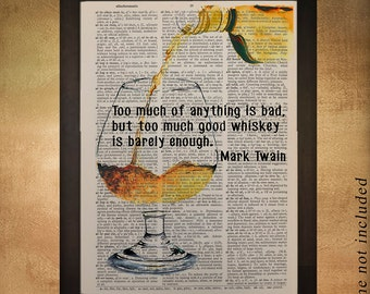 Whiskey Art Bourbon Dictionary Art Print Bourbon Decor Scotch Mark Twain Quote Bar Art Drink Gift Ideas da500