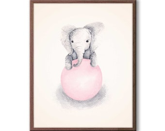 Baby Girl Nursery Decor, Pink and Gray, Nursery Art, Elephant Nursery Art, Kids Wall Art, Elephant Wall Art, New Baby Gift, E339N