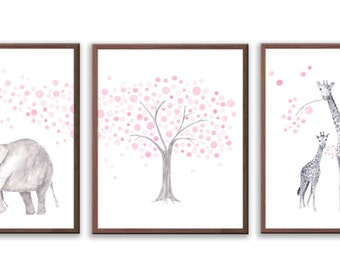 Elephant Nursery Decor, Baby Girl Nursery, Pink and Gray Nursery, Watercolor Nursery art, Elephant and Giraffe, Set of 3 Prints - S023W