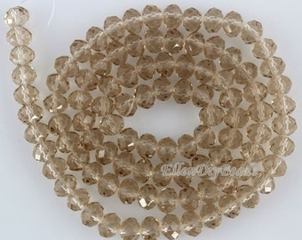 100 Pieces,New 6mm Romantic Brown Rondelle Faceted Crystal Beads, Brown Crystal Beads,1Strand,Gemstone Beads,Supplies-BR046