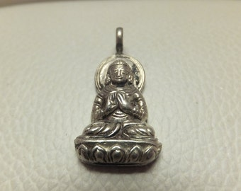 Buddha Pendant in Silver, Vintage
