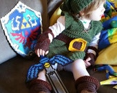 Link Costume (Kokiri Hat, Tunic, Arm Guards, Gloves, Belt.) PATTERN ONLY! Sword, Shield, and Navi in description.