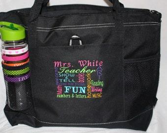 Best Teacher Gift! Embroidered Personalized Teacher Tote Bag; Teacher Appreciation