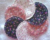 Washable/ Reusable Handmade Floral Nursing Pads. Very Comfortable and Gentle on mothers' sensitive Skin. Set of 3 Pairs, 6 Pads in tot