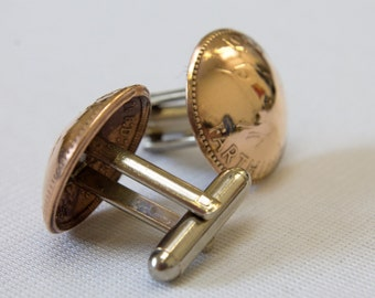 Penny Farthing Coin Cufflinks, Upcycled coins turned into cufflinks