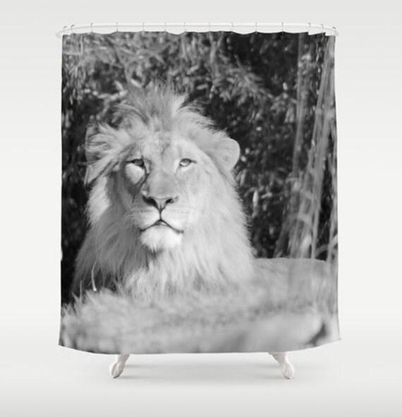 Lion Fabric Shower Curtain Standard Size 71x74 Black White Lion ...