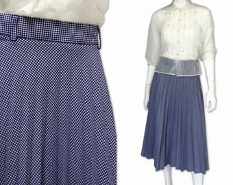 Blue vintage 50s Gingham Vintage Pleated Made In England Pinup School Girl Cosplay Preppy Rockabilly Skirt
