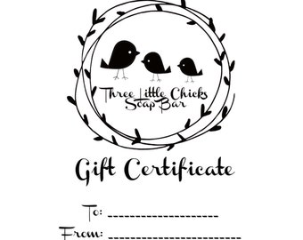 Digital Gift Certificate, Fifteen Dollars