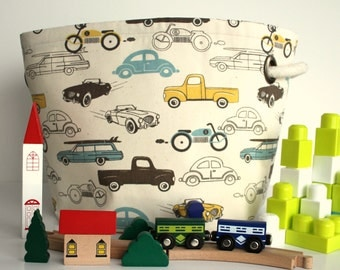 14x14x11 Large Cars and Trucks Fabric Basket or Fabric Bin - great for toy or clothes storage