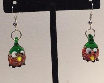 Owl Earrings - Glass Owl Earrings - Fish Hook Earrings - Dangle Earrings - Drop Earrings - Lampwork Earrings