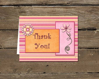 Pink and Orange Thank You Card, digital download, printable!