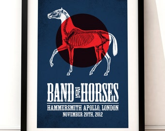 Band of Horses concert poster, gig poster art, music inspired print, Band of Horses poster, concert poster, concert art print