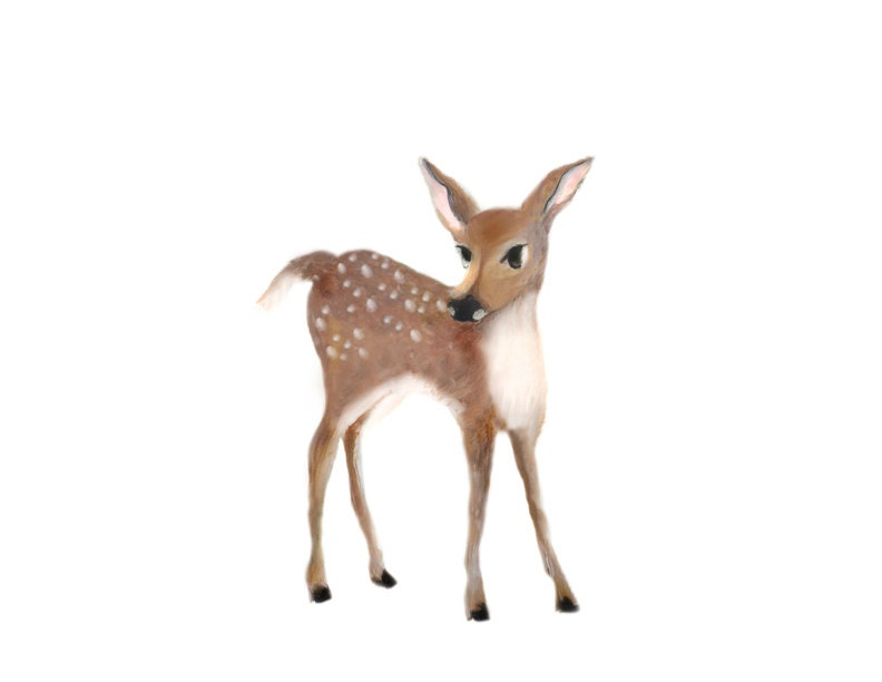 Woodland Animal Painting Baby Deer Fawn Forest Nursery