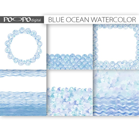 ocean watercolor digital paper 85 x 11 invitation wedding template background wave waves sea
