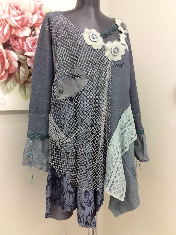 upcycled clothing boho clothing boho tunic upcycled by 16october. Black Bedroom Furniture Sets. Home Design Ideas
