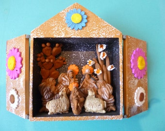 Nativity Set Vintage Folk Art Retablo Painted Box with Religious Theme Portable Alter Made in Peru