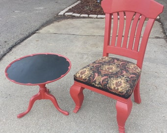 Vintage Painted Table And Chair