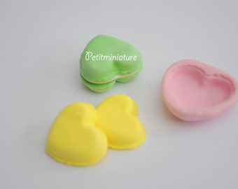 Flexible Silicone Mold heart macaron, Miniature food, jewelry,macaron, polymer clay, polymer clay, resin, soap, sweet, 20mm, Paris ST028