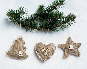 Christmas ornament burlap set of 3 natural Christmas tree Decoration star heart Americana Style Home Decor Simple French Country Cottage