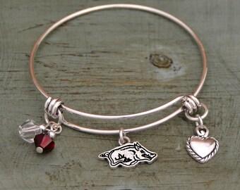 Arkansas Razorback Memory Wire Bracelet