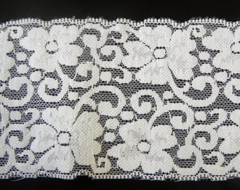"Ivory Floral Stretch Lace 3.5"" wide with ovals Underwear, Activewear, Headbands lingerie trim"