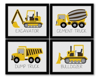INSTANT DOWNLOAD, Construction Vehicles Art, Set of 4, Dump Truck, Excavator, Bulldozer, Cement Truck, Trucks Art, Construction Room