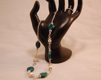 Natural Chrysocolla and Pink Freshwater Pearl Necklace in Sterling Silver