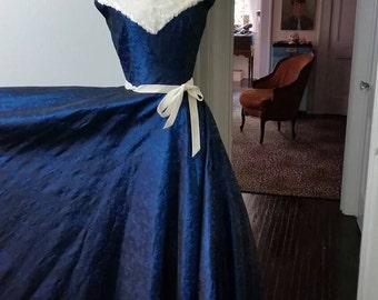 50s Winter Gown Faux Fur Trim Dress XS/S