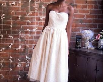 Pru- Vintage Inpsired, Tea-Length Wedding Gown