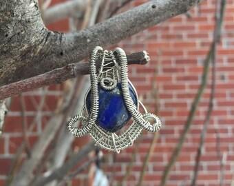 Lapis Lazuli Egyptian Gemstone Blue Heart Silver Wire Wrapped pendant