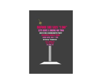 Bachelorette Martini Party Invitation, shaped as a martini font glass in pink & black