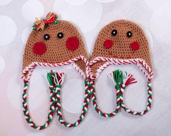 Gingerbread hat Girl Gingerbread hat Boy gingerbread hat Christmas hat Crochet hat Crochet Christmas hat
