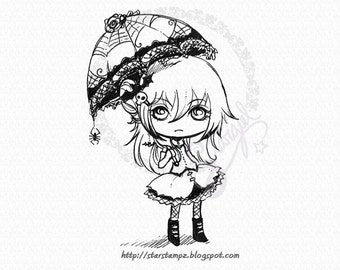 Goth Girl - DIGITAL STAMP Instant Download for Cards & Crafts