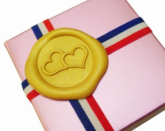 TWO LOVING HEARTS Wax Seal Stamp or Wax Stick Sealing Starter Tool Kit Box Set