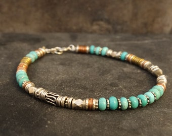 Turquoise Bracelet with Sterling Silver Copper and Brass