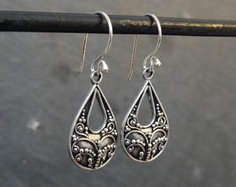 Silver Earrings, Teardrop Earrings,  Filigree Drop Earrings, Intricate Earrings, Sterling Silver Earrings, 925
