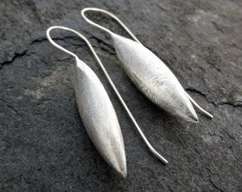 Brushed Gold Vermeil or Sterling Silver Spear Drop Earrings