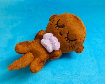Sleeping Baby Otter + Clam Shell plush