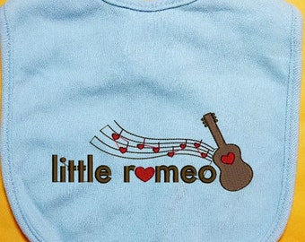 Little Romeo Bib, Embroidered Bib, Guitar Baby Bib, custom baby bib, infant baby bib, girl bib, boy bib, cotton baby bib, handmade bib