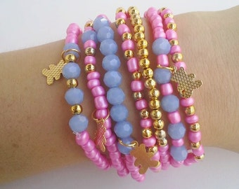 Romantic Bracelet - boho chic friendship beaded bracelets - pink and blue - cheap bracelet