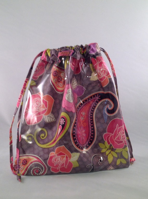 Knitting Bag Design : Knitting window project bag fabric paisley design by