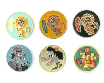 Cartoon characters, Children's badges, Set, Animal, Cock, Wolf, Lion, Fox, Vintage collectible badge, Soviet Pin, Soviet Union, Made in USSR