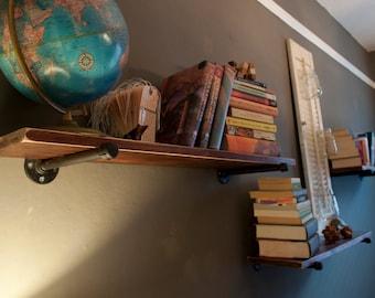 Rustic Shelf. Reclaimed Wood and Steel Pipe Shelves. Industrial Shelf.