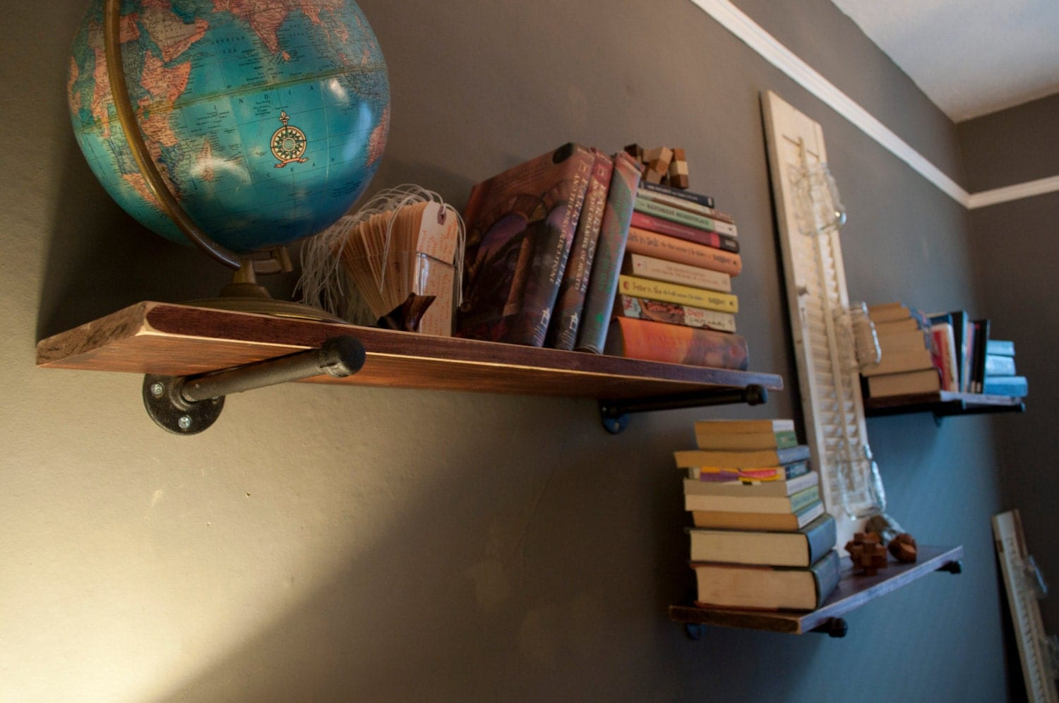 Superb img of Rustic Reclaimed Wood and Steel Pipe Shelves by RelishSav on Etsy with #947837 color and 1500x996 pixels
