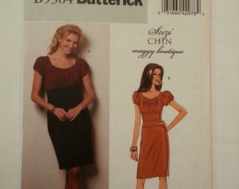 Cocktail dress/ Sexy / tight /scoop neck /easy /pleated dress 2009 Sewing Pattern, Bust 31 32 34 36, sizes 8 10 12 14, Easy Butterick B 5384