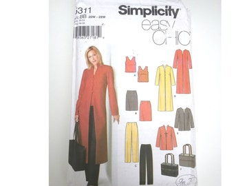 Plus size Pants/jacket /duster /tops/skirt/ Tote /purse/ 2003 sewing pattern, Size 20 22 24 26 28, Bust 42 44 46 48 50, Simplicity 5311