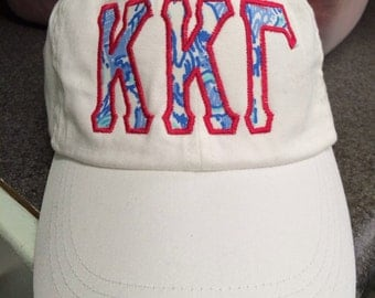 Kappa Kappa Gamma Hat appliqued with the KKG Lilly Fabric